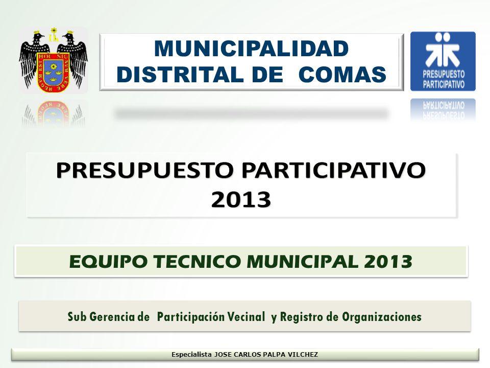 MUNICIPALIDAD DISTRITAL DE COMAS EQUIPO TECNICO MUNICIPAL 2013 Especialista JOSE CARLOS PALPA VILCHEZ Sub Gerencia de Participación Vecinal y Registro de Organizaciones