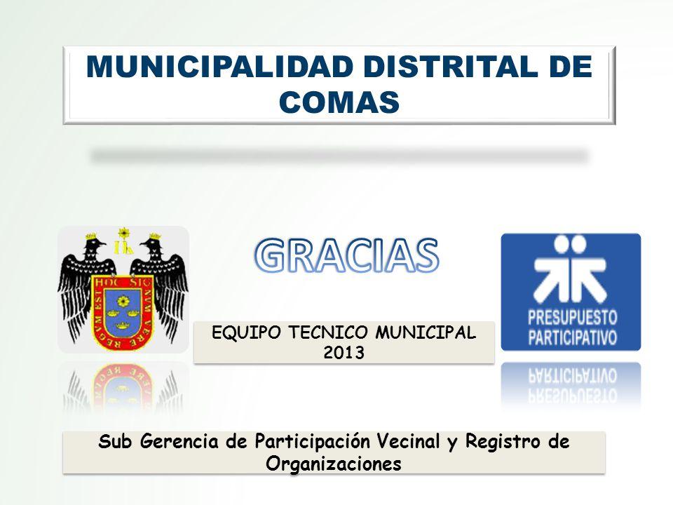 Sub Gerencia de Participación Vecinal y Registro de Organizaciones MUNICIPALIDAD DISTRITAL DE COMAS EQUIPO TECNICO MUNICIPAL 2013