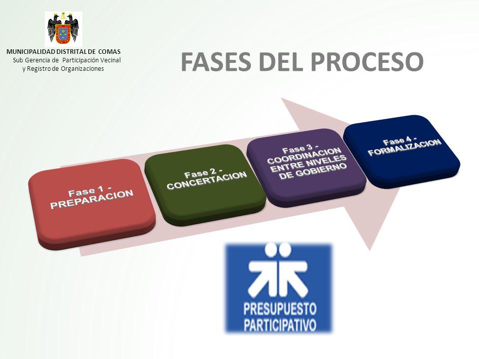 FASES DEL PROCESO MUNICIPALIDAD DISTRITAL DE COMAS Sub Gerencia de Participación Vecinal y Registro de Organizaciones