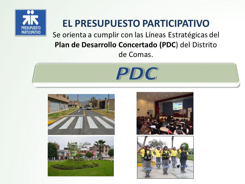 EL PRESUPUESTO PARTICIPATIVO Se orienta a cumplir con las Líneas Estratégicas del Plan de Desarrollo Concertado (PDC) del Distrito de Comas.