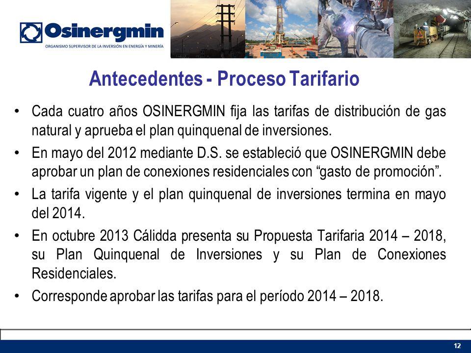 Cada cuatro años OSINERGMIN fija las tarifas de distribución de gas natural y aprueba el plan quinquenal de inversiones. En mayo del 2012 mediante D.S