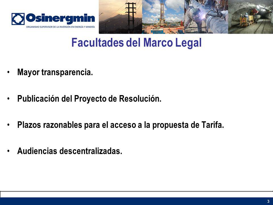 Facultades del Marco Legal Mayor transparencia. Publicación del Proyecto de Resolución. Plazos razonables para el acceso a la propuesta de Tarifa. Aud