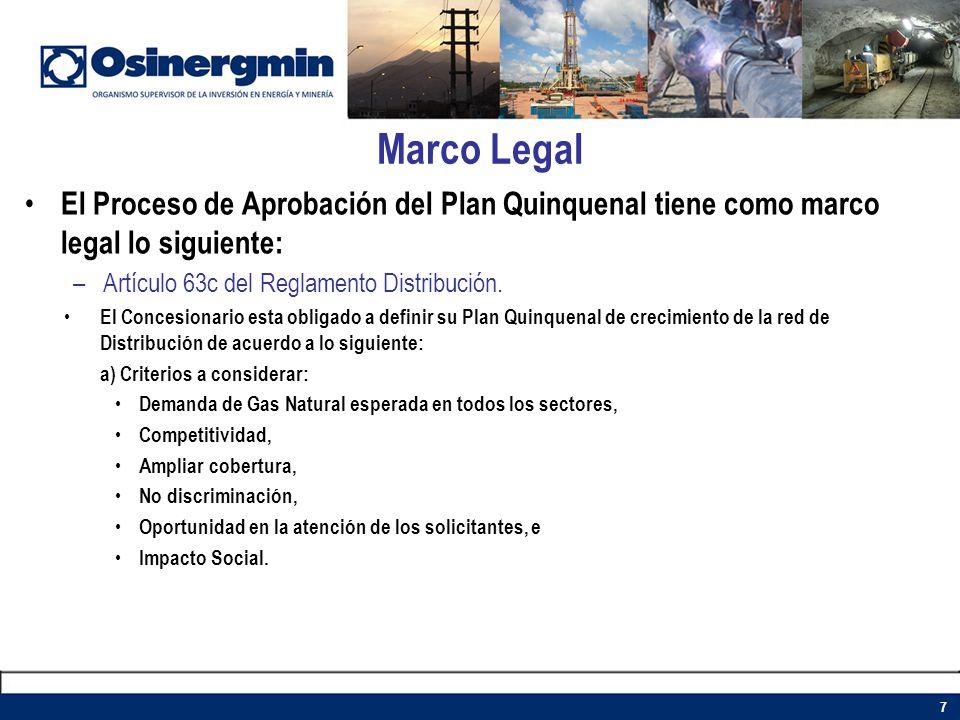 Marco Legal El Proceso de Aprobación del Plan Quinquenal tiene como marco legal lo siguiente: –Artículo 63c del Reglamento Distribución. El Concesiona
