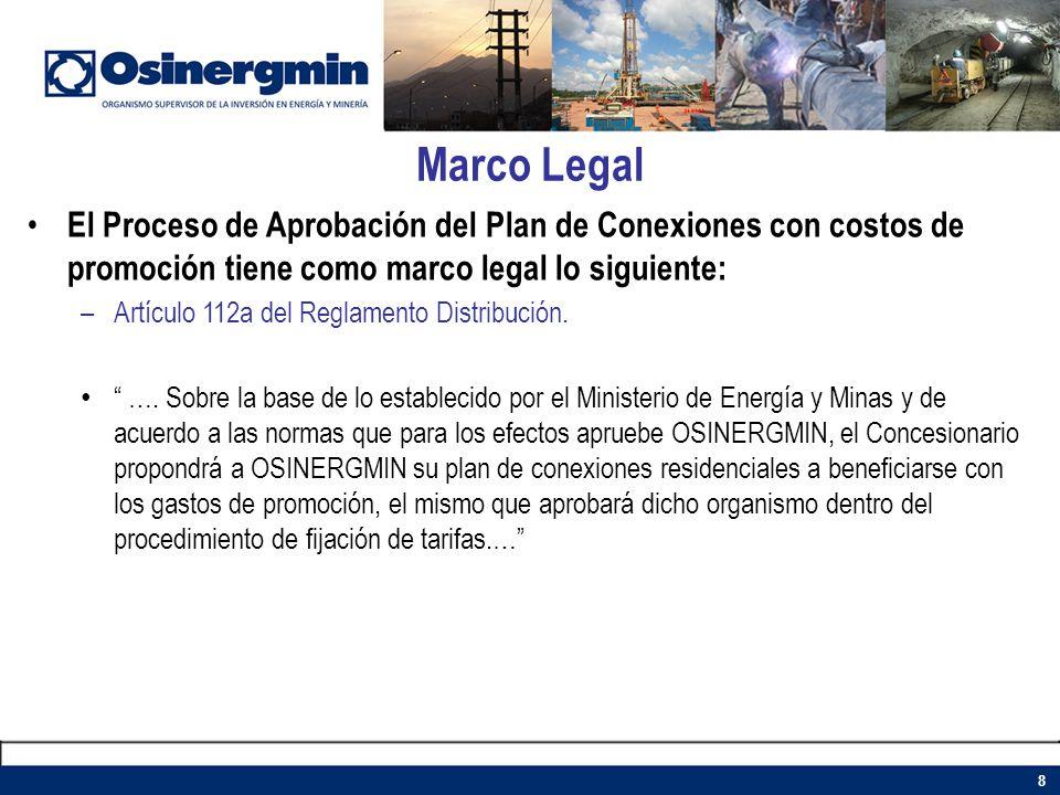 Marco Legal 8 El Proceso de Aprobación del Plan de Conexiones con costos de promoción tiene como marco legal lo siguiente: –Artículo 112a del Reglamen