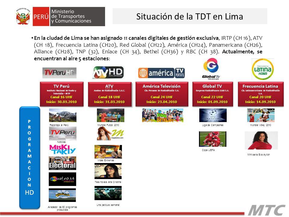 Situación de la TDT en Lima En la ciudad de Lima se han asignado 11 canales digitales de gestión exclusiva, IRTP (CH 16), ATV (CH 18), Frecuencia Lati