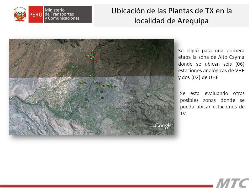 Se eligió para una primera etapa la zona de Alto Cayma donde se ubican seis (06) estaciones analógicas de VHF y dos (02) de UHF Se esta evaluando otras posibles zonas donde se pueda ubicar estaciones de TV.