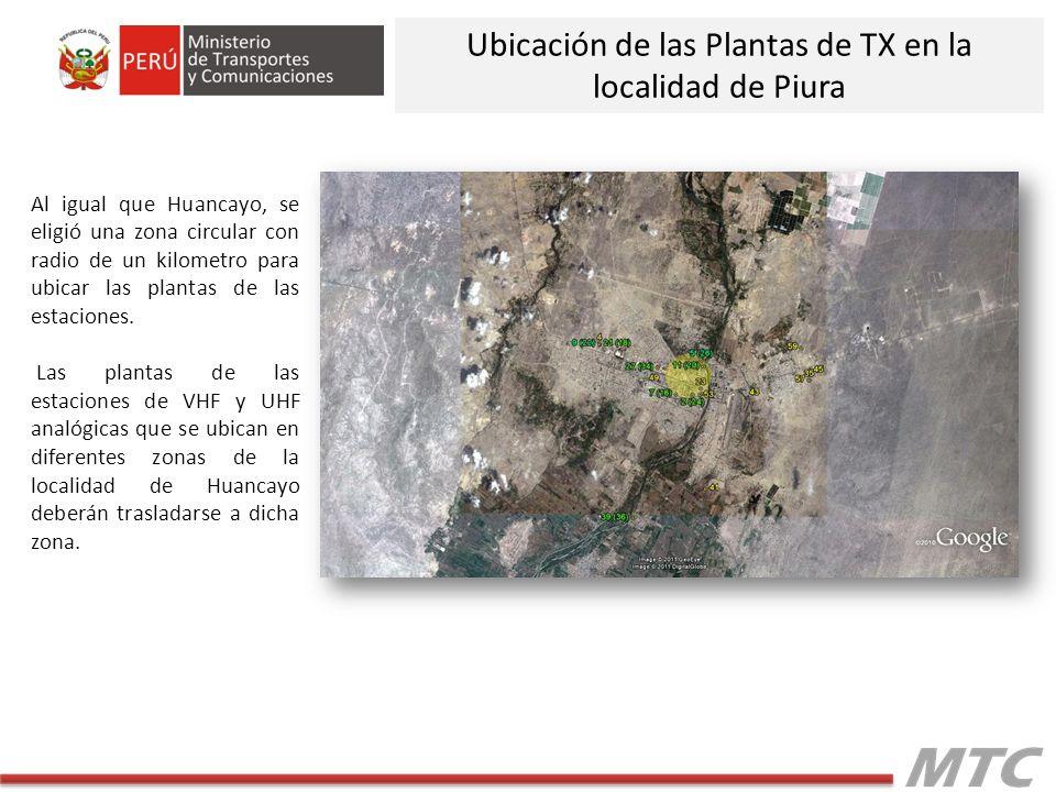 Al igual que Huancayo, se eligió una zona circular con radio de un kilometro para ubicar las plantas de las estaciones.