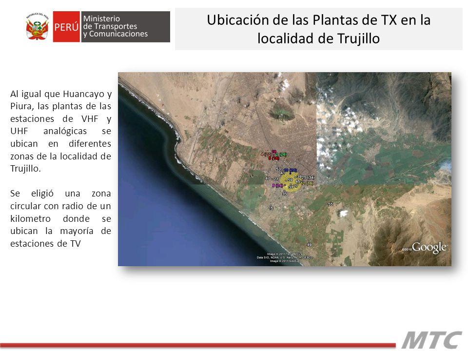 Al igual que Huancayo y Piura, las plantas de las estaciones de VHF y UHF analógicas se ubican en diferentes zonas de la localidad de Trujillo. Se eli