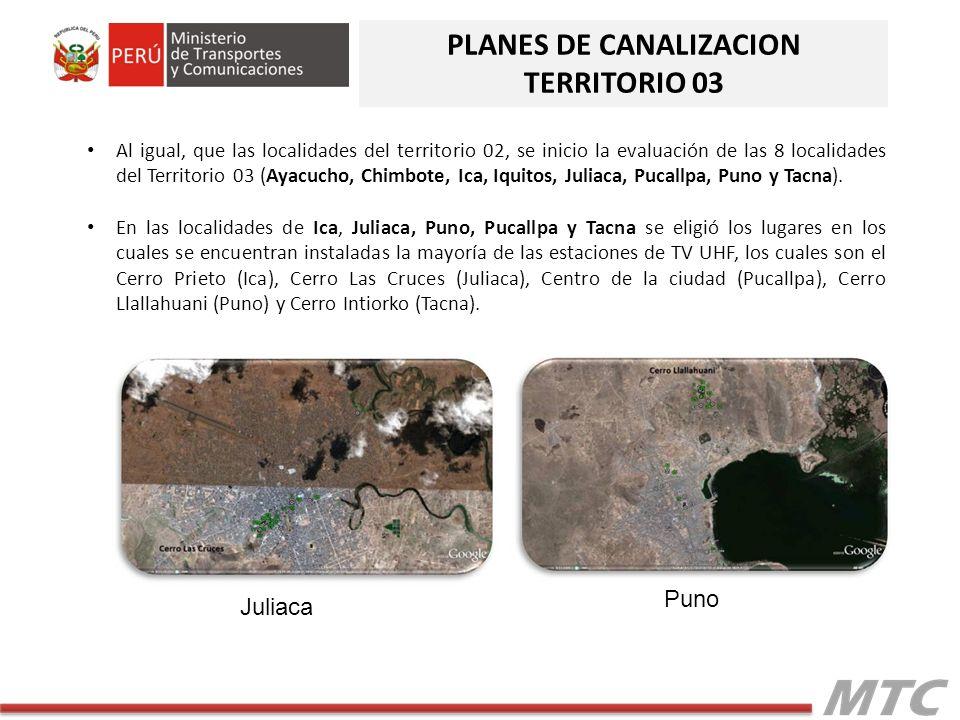 Al igual, que las localidades del territorio 02, se inicio la evaluación de las 8 localidades del Territorio 03 (Ayacucho, Chimbote, Ica, Iquitos, Jul