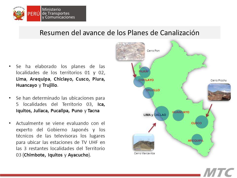 Se ha elaborado los planes de las localidades de los territorios 01 y 02, Lima, Arequipa, Chiclayo, Cusco, Piura, Huancayo y Trujillo. Se han determin