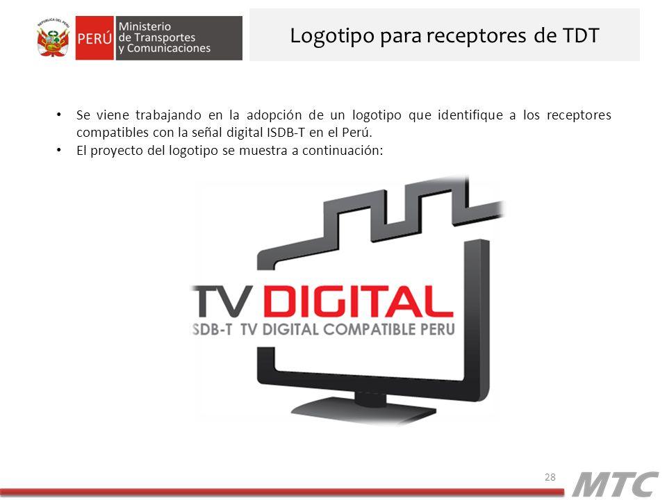 Logotipo para receptores de TDT 28 Se viene trabajando en la adopción de un logotipo que identifique a los receptores compatibles con la señal digital