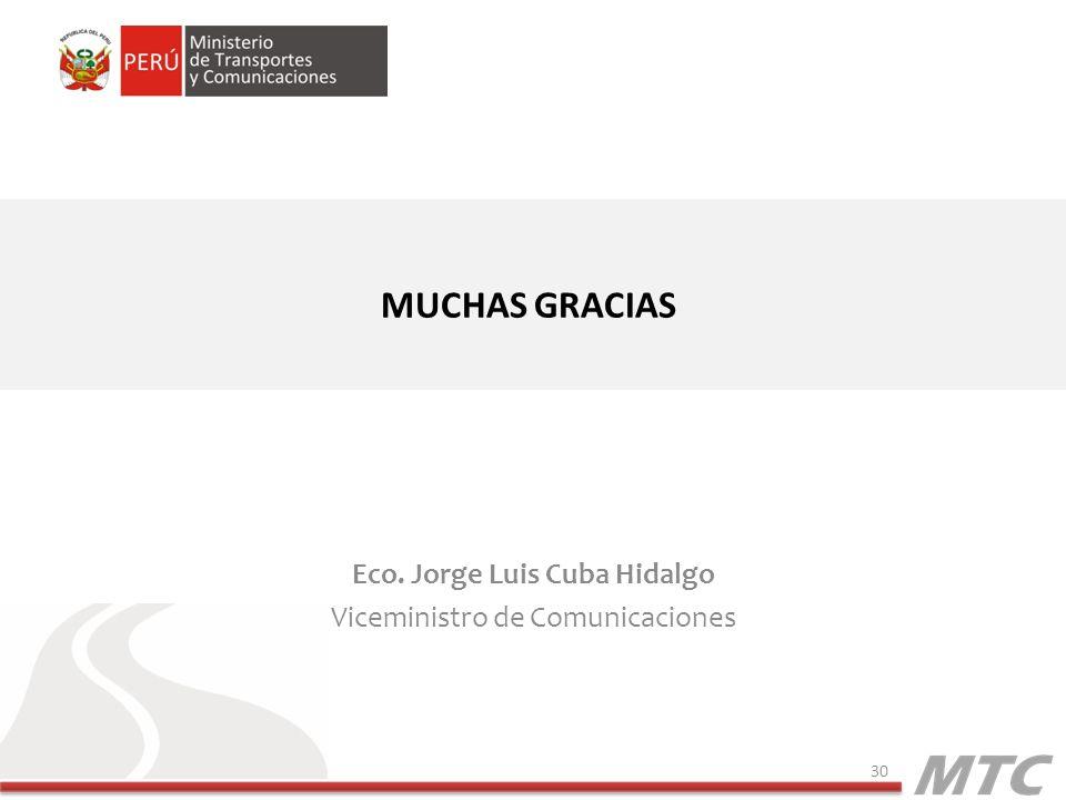 MUCHAS GRACIAS Eco. Jorge Luis Cuba Hidalgo Viceministro de Comunicaciones 30