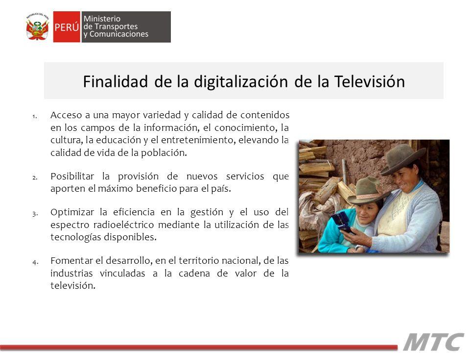 Situación de la TDT en Lima En la ciudad de Lima se han asignado 11 canales digitales de gestión exclusiva, IRTP (CH 16), ATV (CH 18), Frecuencia Latina (CH20), Red Global (CH22), América (CH24), Panamericana (CH26), Alliance (CH28), TNP (32), Enlace (CH 34), Bethel (CH36) y RBC (CH 38).