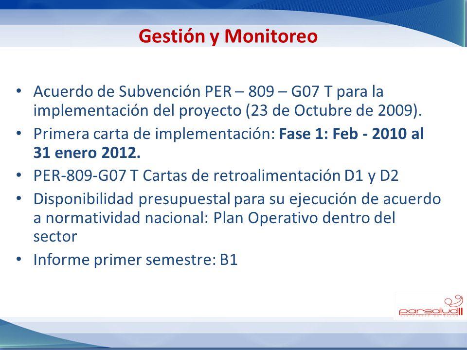 Acuerdo de Subvención PER – 809 – G07 T para la implementación del proyecto (23 de Octubre de 2009). Primera carta de implementación: Fase 1: Feb - 20
