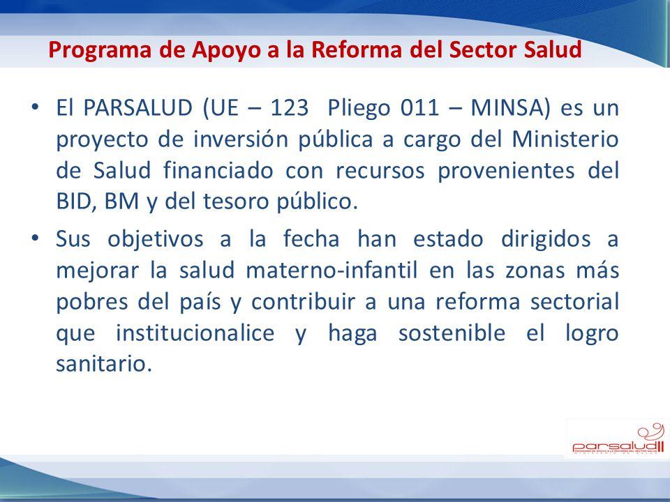 El PARSALUD (UE – 123 Pliego 011 – MINSA) es un proyecto de inversión pública a cargo del Ministerio de Salud financiado con recursos provenientes del