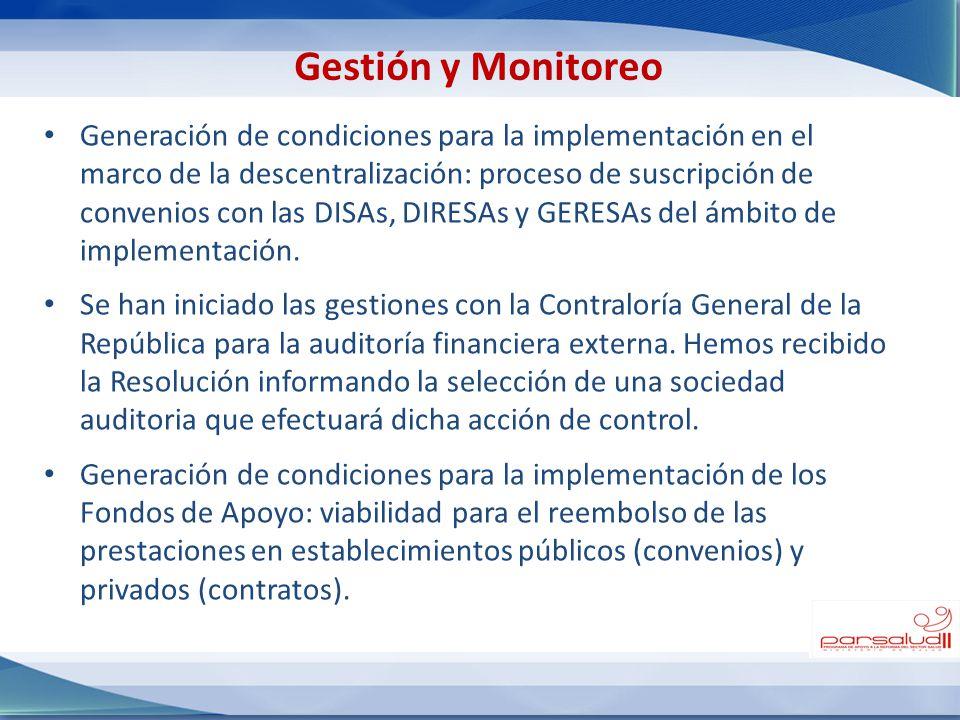 Generación de condiciones para la implementación en el marco de la descentralización: proceso de suscripción de convenios con las DISAs, DIRESAs y GER