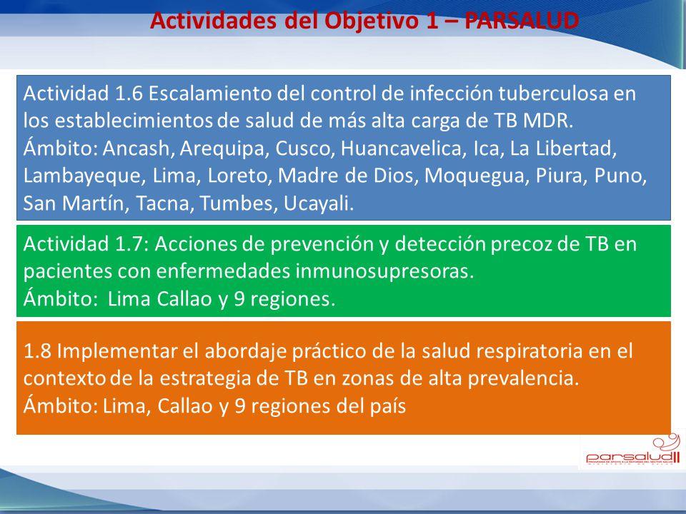 Actividades del Objetivo 1 – PARSALUD Actividad 1.6 Escalamiento del control de infección tuberculosa en los establecimientos de salud de más alta car