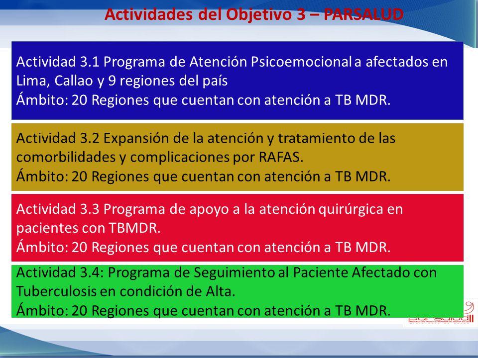 Actividades del Objetivo 3 – PARSALUD Actividad 3.1 Programa de Atención Psicoemocional a afectados en Lima, Callao y 9 regiones del país Ámbito: 20 R
