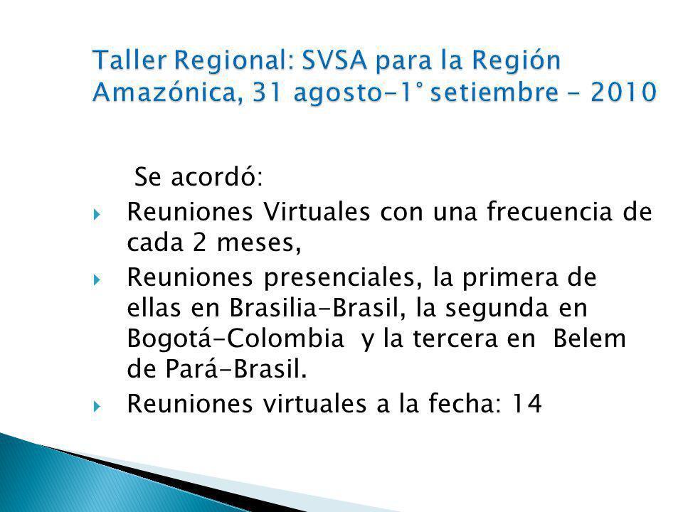 Se acordó: Reuniones Virtuales con una frecuencia de cada 2 meses, Reuniones presenciales, la primera de ellas en Brasilia-Brasil, la segunda en Bogotá-Colombia y la tercera en Belem de Pará-Brasil.