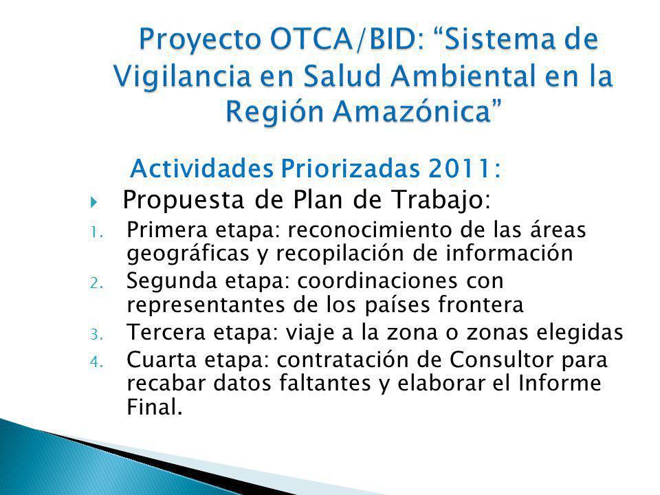Actividades Priorizadas 2011: Propuesta de Plan de Trabajo: 1.