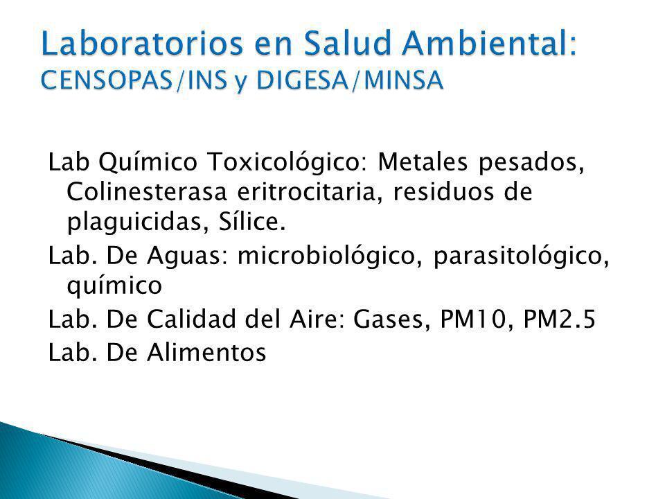 Lab Químico Toxicológico: Metales pesados, Colinesterasa eritrocitaria, residuos de plaguicidas, Sílice.