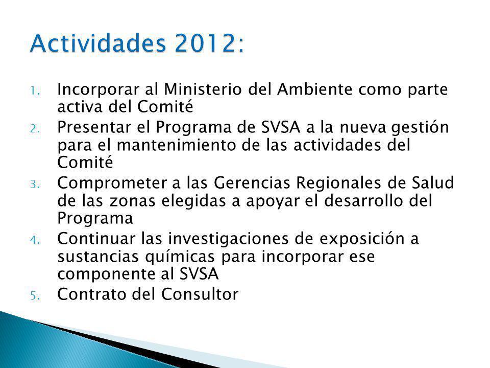 1.Incorporar al Ministerio del Ambiente como parte activa del Comité 2.