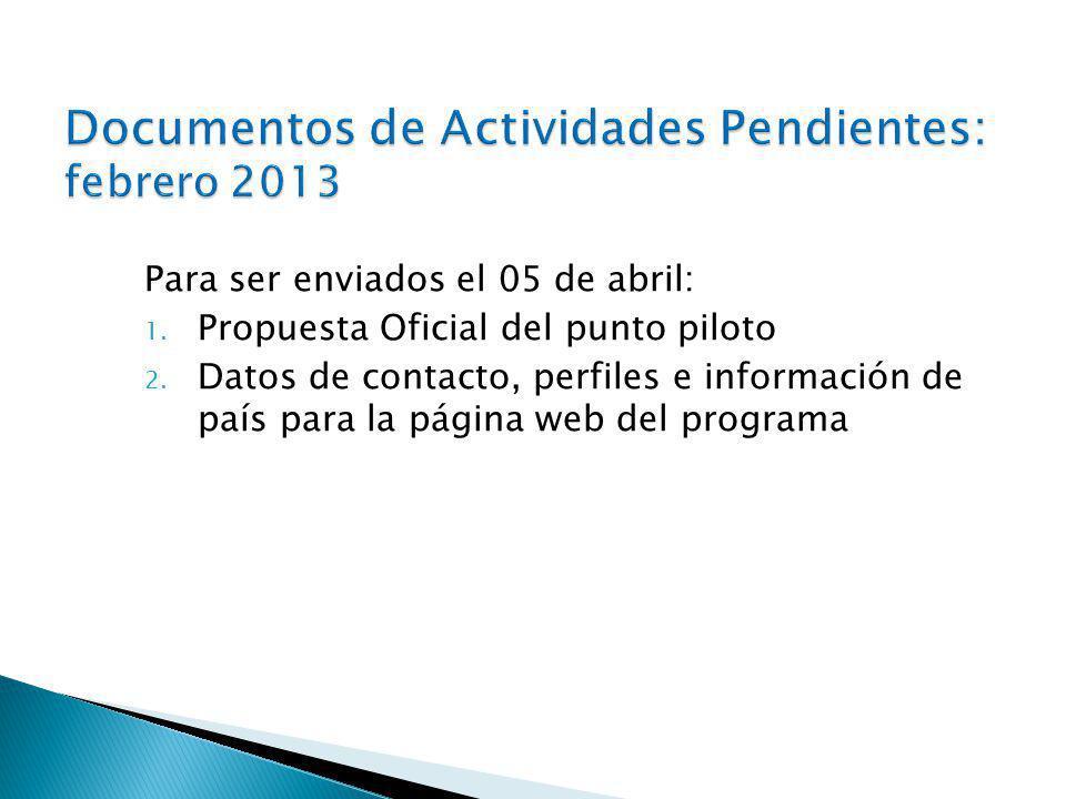 Para ser enviados el 05 de abril: 1.Propuesta Oficial del punto piloto 2.