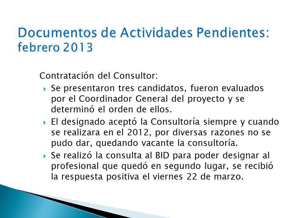 Contratación del Consultor: Se presentaron tres candidatos, fueron evaluados por el Coordinador General del proyecto y se determinó el orden de ellos.