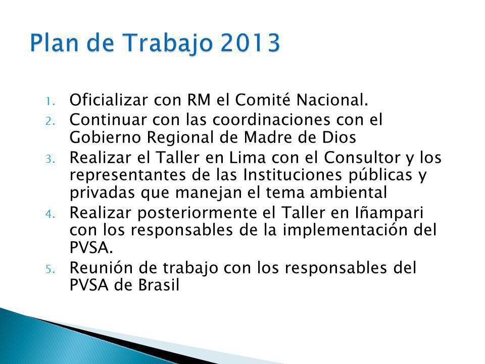 1.Oficializar con RM el Comité Nacional. 2.
