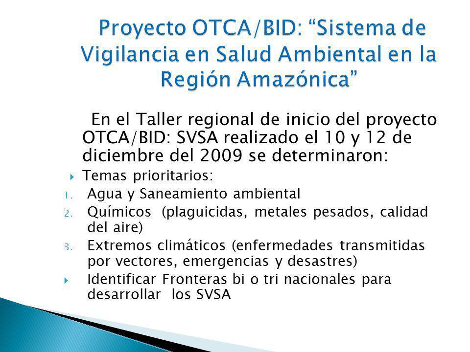 En el Taller regional de inicio del proyecto OTCA/BID: SVSA realizado el 10 y 12 de diciembre del 2009 se determinaron: Temas prioritarios: 1.
