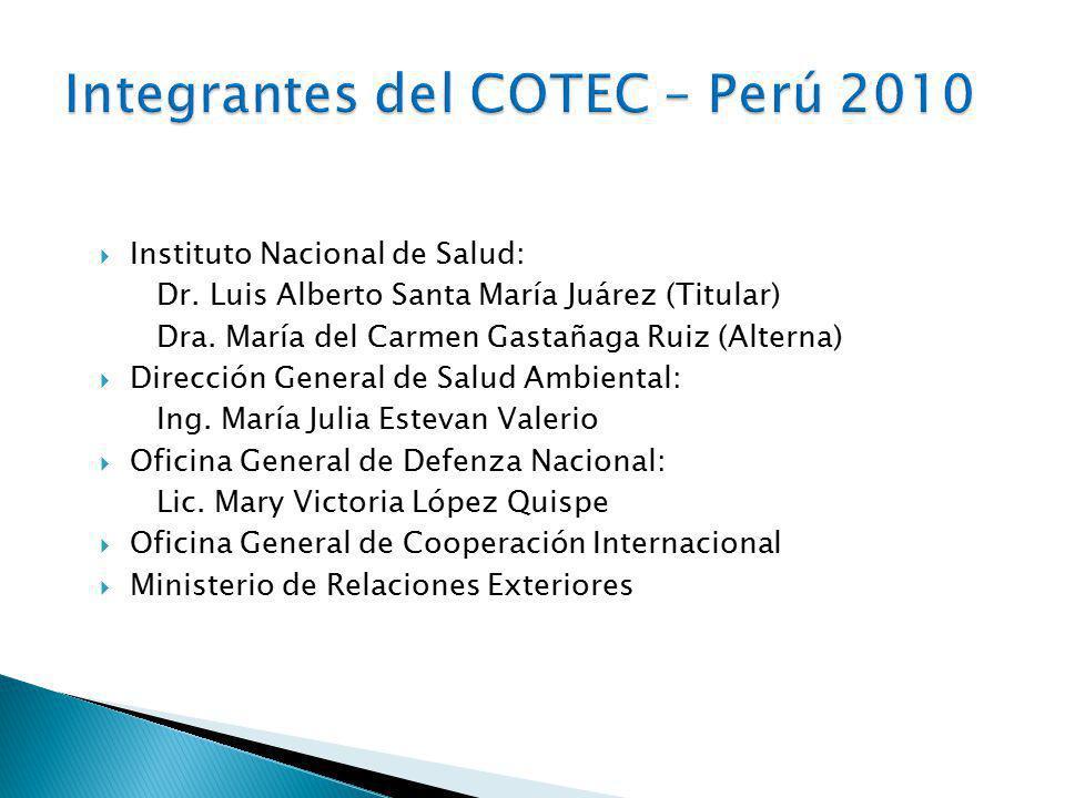 Instituto Nacional de Salud: Dr.Luis Alberto Santa María Juárez (Titular) Dra.