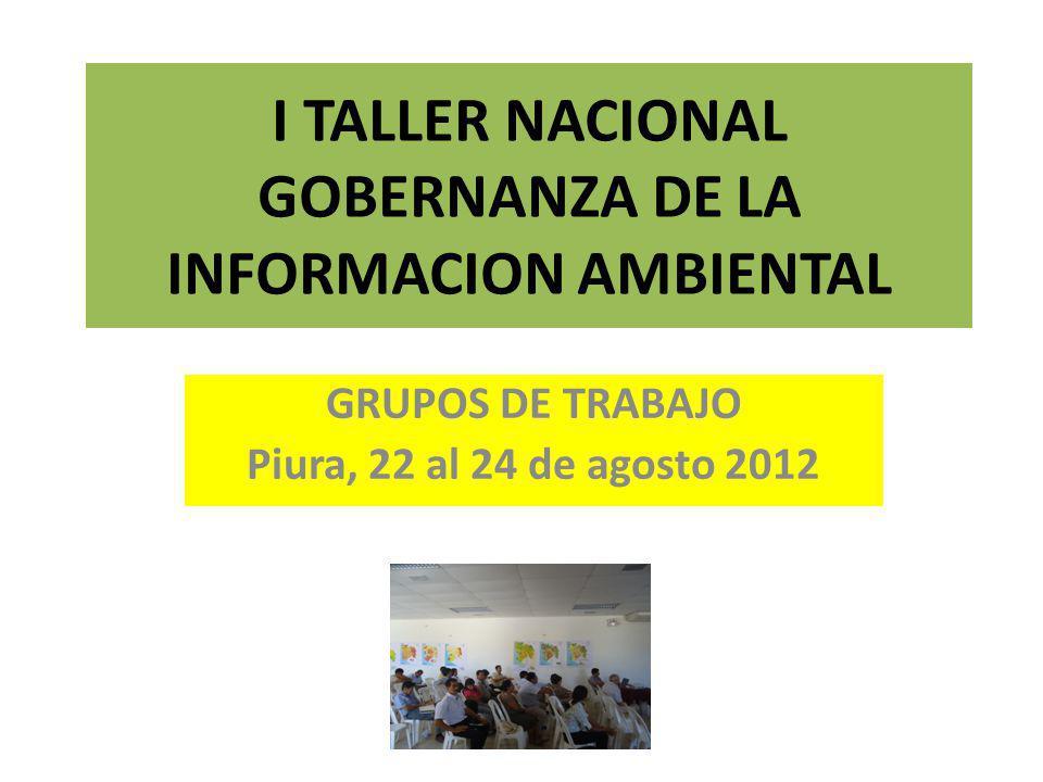 I TALLER NACIONAL GOBERNANZA DE LA INFORMACION AMBIENTAL GRUPOS DE TRABAJO Piura, 22 al 24 de agosto 2012
