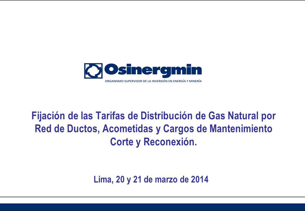 Fijación de las Tarifas de Distribución de Gas Natural por Red de Ductos, Acometidas y Cargos de Mantenimiento Corte y Reconexión. Lima, 20 y 21 de ma