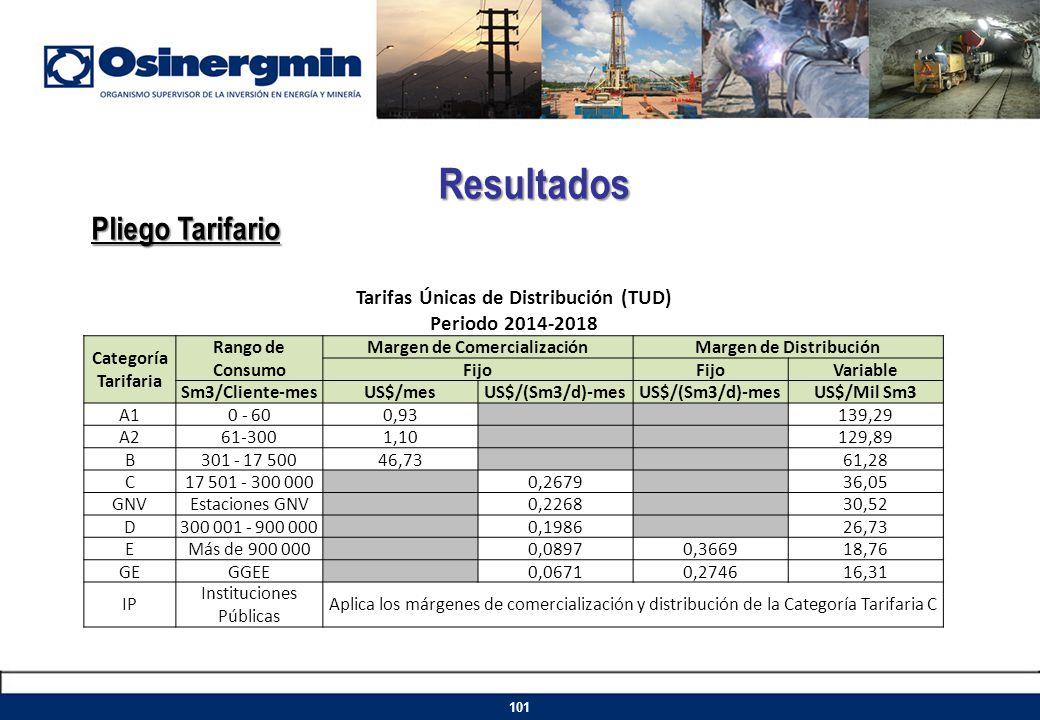 Resultados Pliego Tarifario 101 Tarifas Únicas de Distribución (TUD) Periodo 2014-2018 Categoría Tarifaria Rango de Consumo Margen de Comercialización