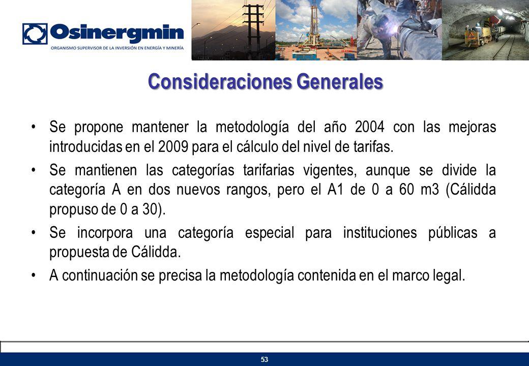 Se propone mantener la metodología del año 2004 con las mejoras introducidas en el 2009 para el cálculo del nivel de tarifas. Se mantienen las categor