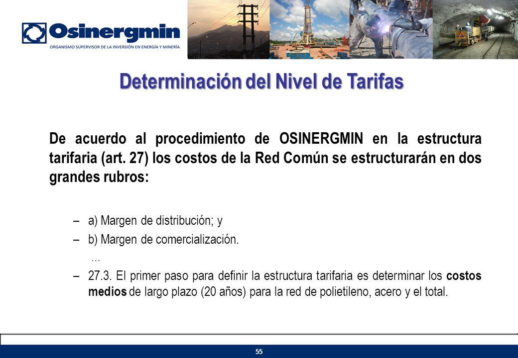 De acuerdo al procedimiento de OSINERGMIN en la estructura tarifaria (art. 27) los costos de la Red Común se estructurarán en dos grandes rubros: –a)