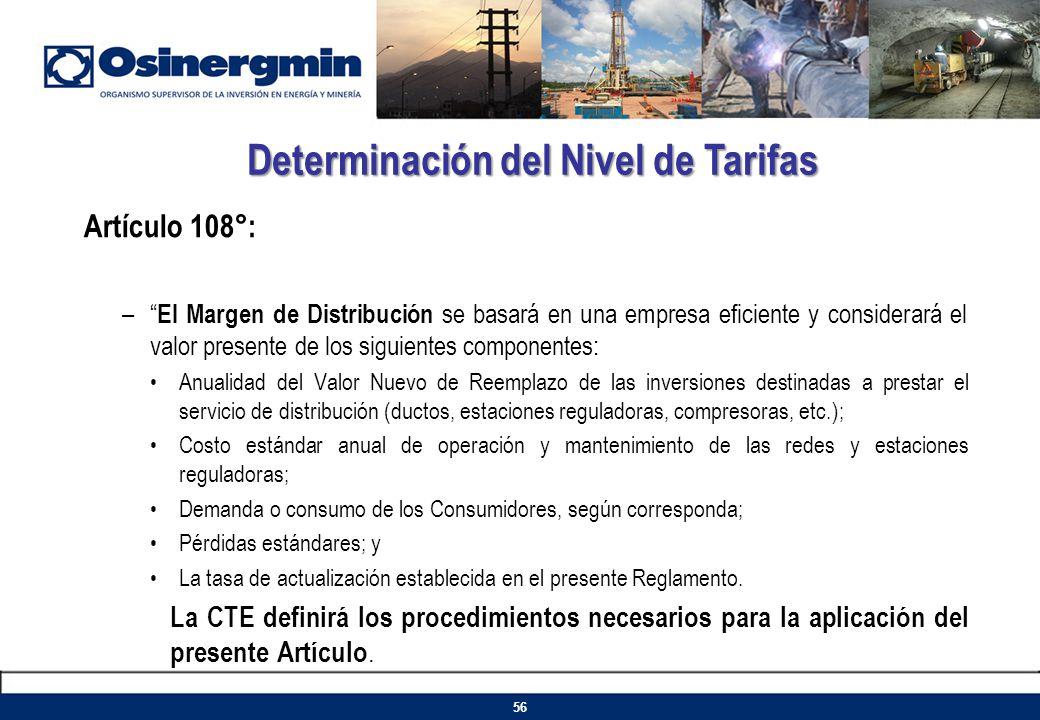 Artículo 108°: – El Margen de Distribución se basará en una empresa eficiente y considerará el valor presente de los siguientes componentes: Anualidad