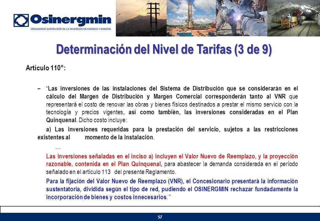 Artículo 110°: – Las inversiones de las instalaciones del Sistema de Distribución que se considerarán en el cálculo del Margen de Distribución y Marge