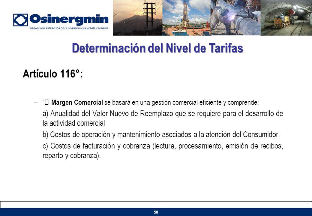 Artículo 116°: –El Margen Comercial se basará en una gestión comercial eficiente y comprende: a) Anualidad del Valor Nuevo de Reemplazo que se requier