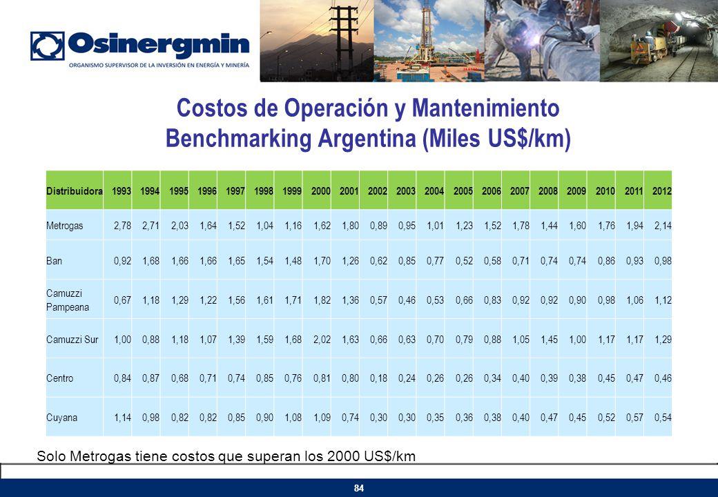 Costos de Operación y Mantenimiento Benchmarking Argentina (Miles US$/km) Distribuidora199319941995199619971998199920002001200220032004200520062007200