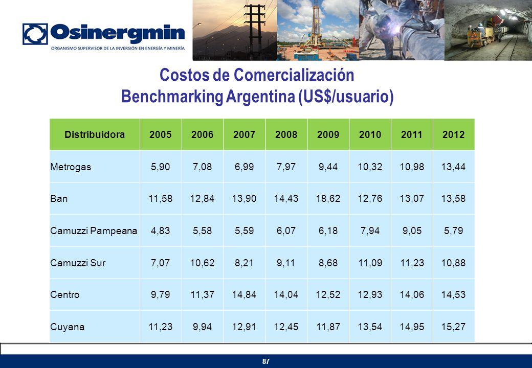 Costos de Comercialización Benchmarking Argentina (US$/usuario) Distribuidora20052006200720082009201020112012 Metrogas5,907,086,997,979,4410,3210,9813