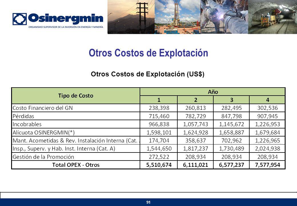 Otros Costos de Explotación Otros Costos de Explotación (US$) 91
