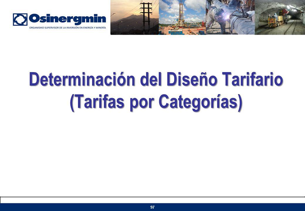 Determinación del Diseño Tarifario (Tarifas por Categorías) 97