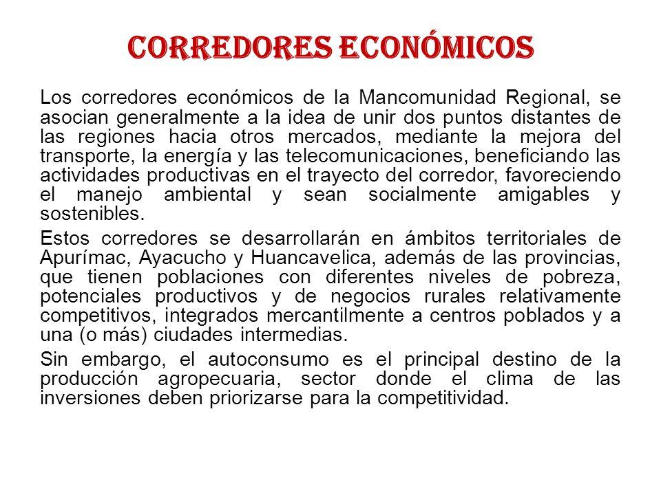 EJES PRIORIZADOS E INVERSIONES EN LA MANCOMUNIDAD 1.ECONÓMICO: Camélidos Sudamericanos (Alpacas), Cultivos Andinos (Quinua), Frutales (Paltos y Duraznos), Acuicultura (Truchas).