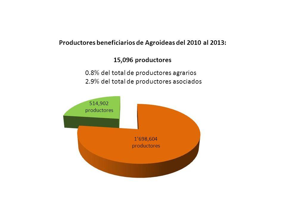 Productores beneficiarios de Agroideas del 2010 al 2013: 15,096 productores 0.8% del total de productores agrarios 2.9% del total de productores asociados 514,902 productores 1698,604 productores