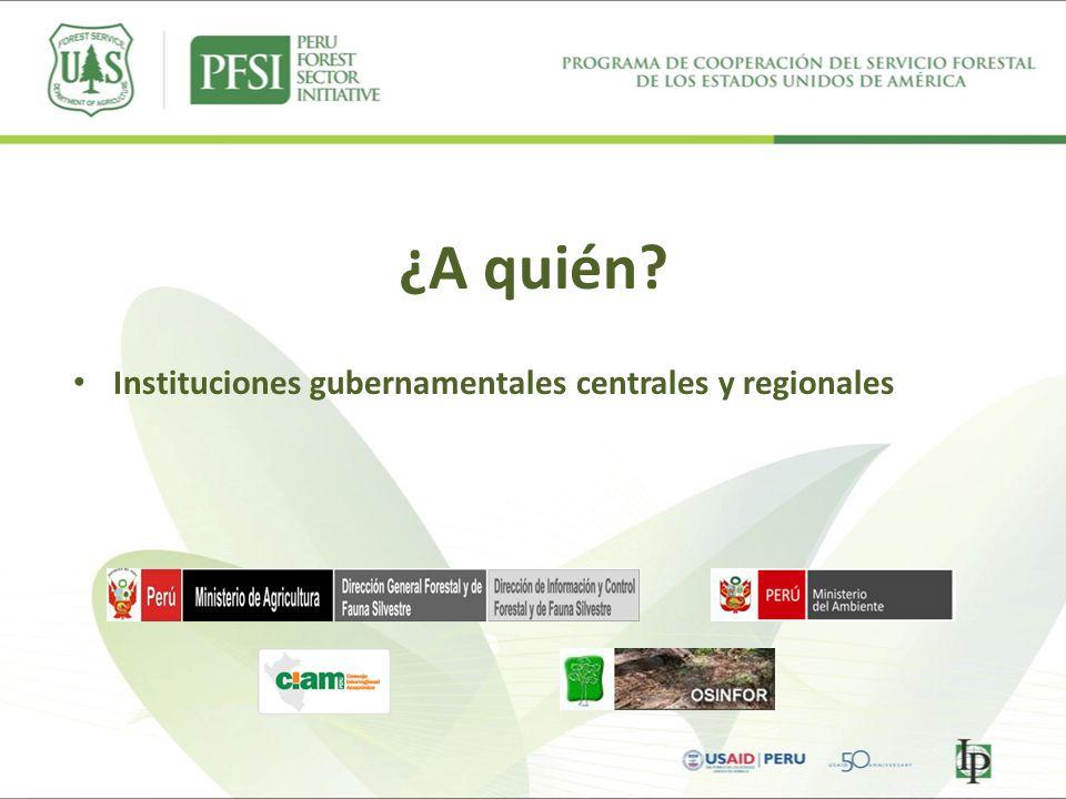 ¿A quién? Instituciones gubernamentales centrales y regionales