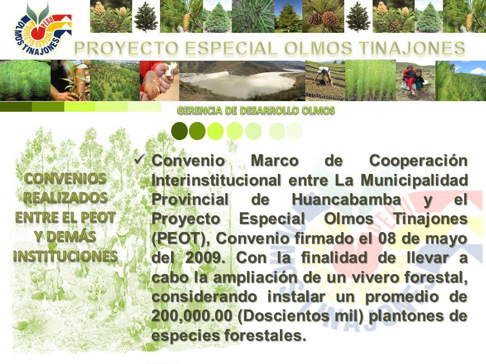 Convenio Marco de Cooperación Interinstitucional entre La Municipalidad Provincial de Huancabamba y el Proyecto Especial Olmos Tinajones (PEOT), Conve