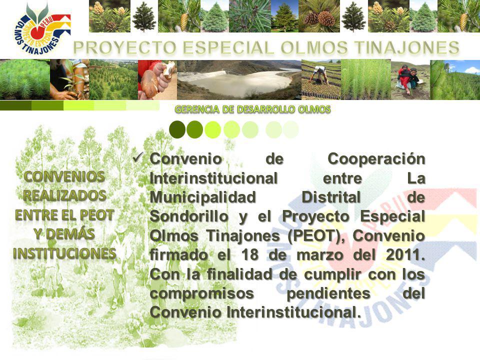 Convenio de Cooperación Interinstitucional entre La Municipalidad Distrital de Sondorillo y el Proyecto Especial Olmos Tinajones (PEOT), Convenio firm