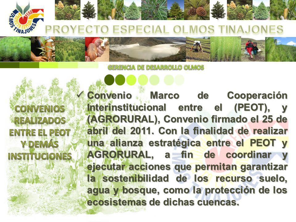 Convenio Marco de Cooperación Interinstitucional entre el (PEOT), y (AGRORURAL), Convenio firmado el 25 de abril del 2011. Con la finalidad de realiza