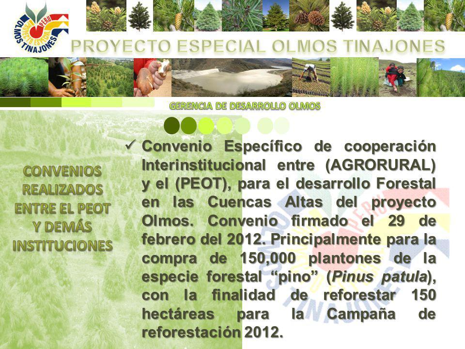 Convenio Específico de cooperación Interinstitucional entre (AGRORURAL) y el (PEOT), para el desarrollo Forestal en las Cuencas Altas del proyecto Olm